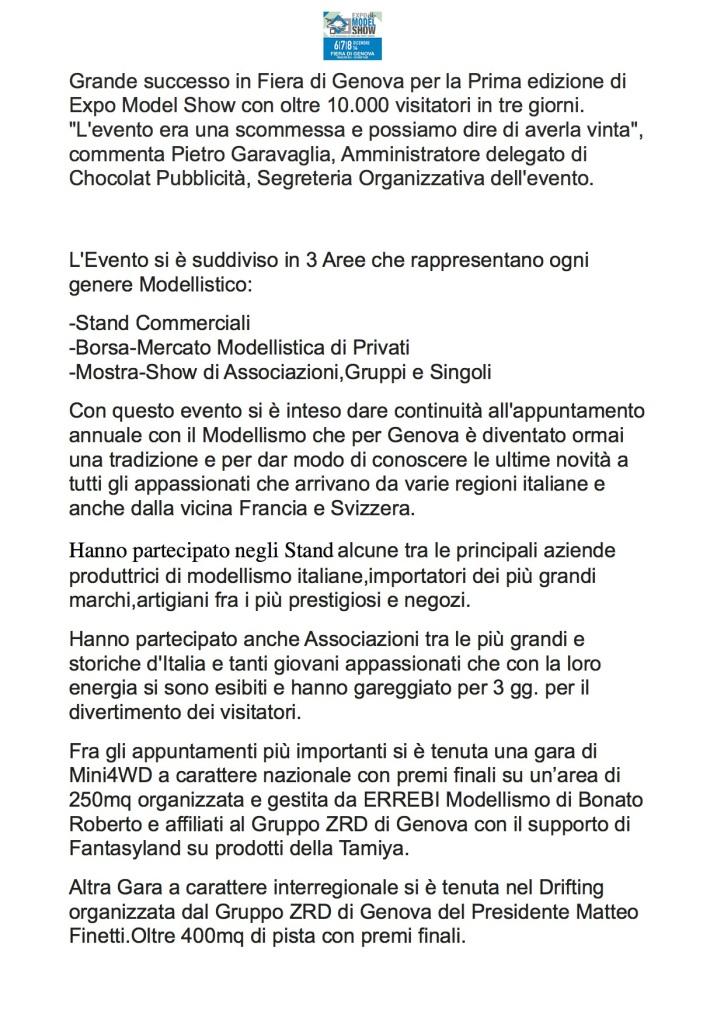 Redazionale per Espositori Modellismo Expo Model Show 6-7-8 Dicembre 2014 Fiera Genova
