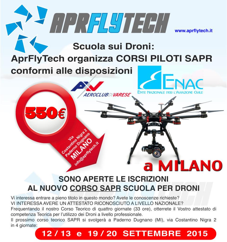 Aprflytech organizza corsi per piloti SAPR APR con rilascio di attestato nazionale, il prossimo si terrà i gg 12/13 e 19/20 settembre